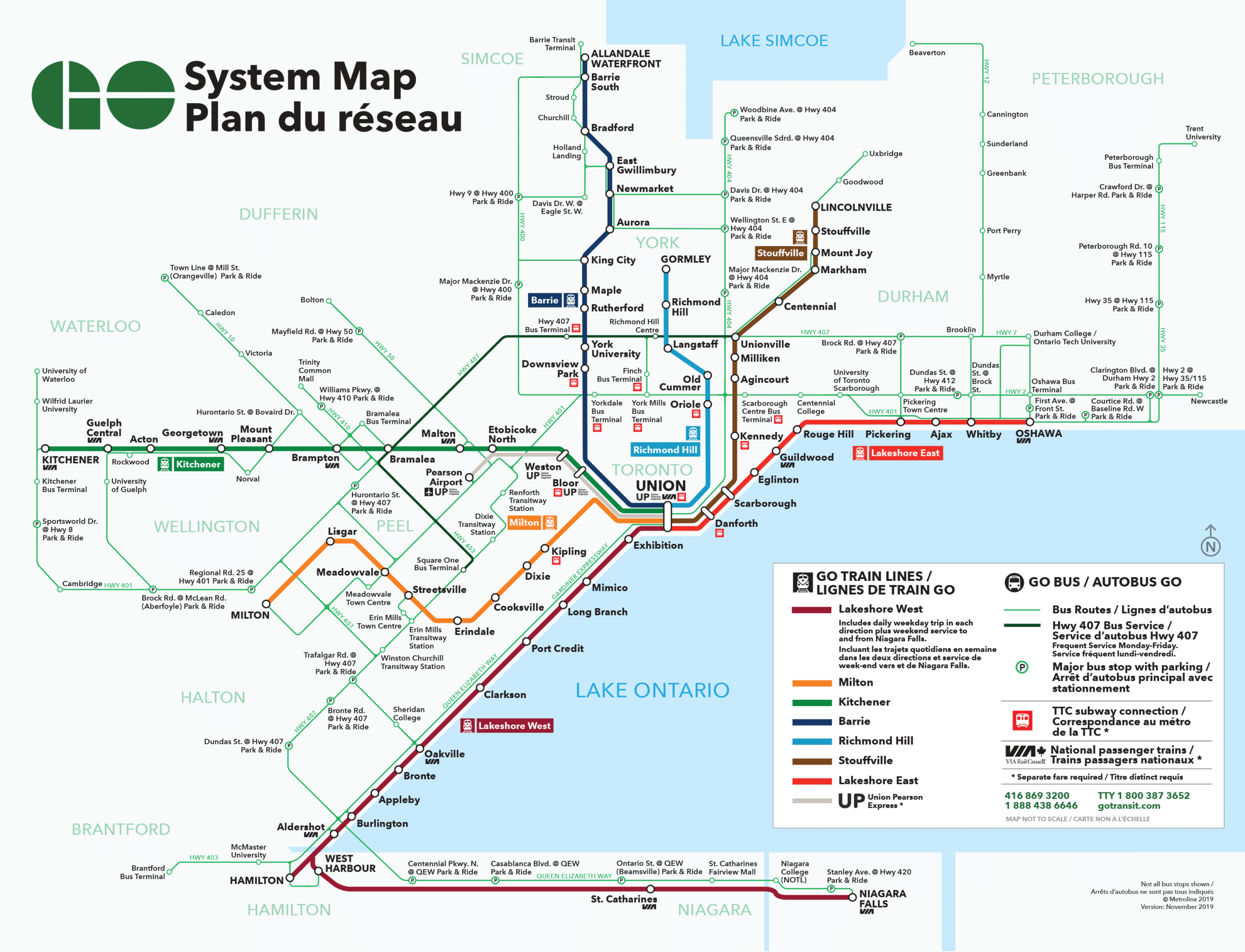 Go Transit System Map